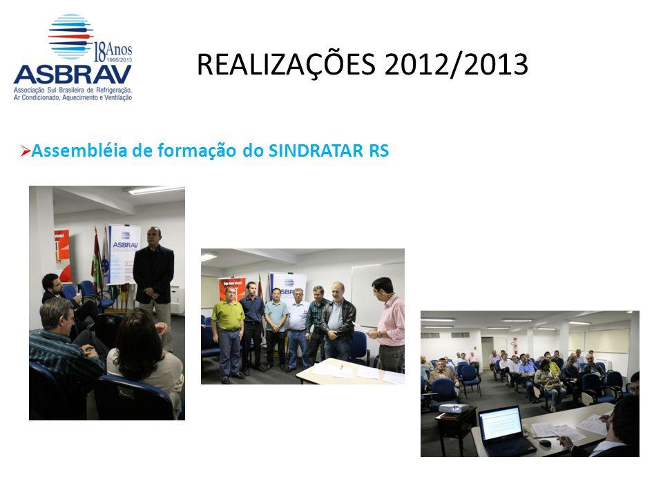 Assembléia de formação do SINDRATAR RS REALIZAÇÕES 2012/2013