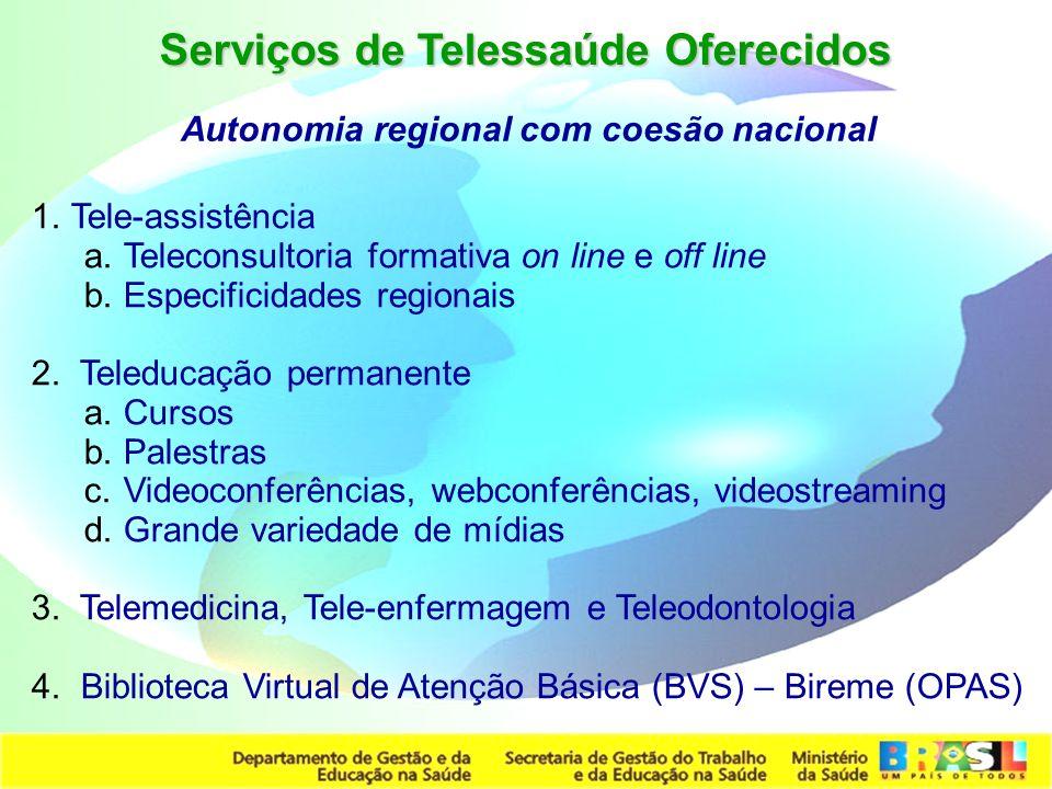 Secretaria de Gestão do Trabalho e da Educação na Saúde 1.Tele-assistência a.Teleconsultoria formativa on line e off line b.Especificidades regionais