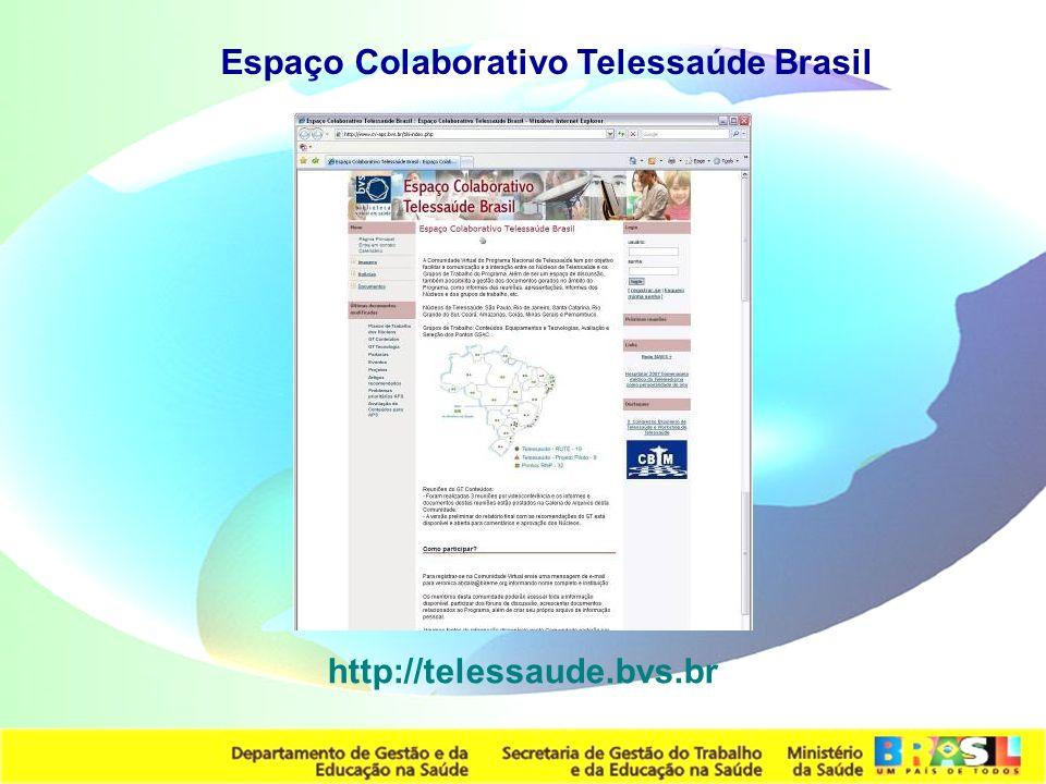 Secretaria de Gestão do Trabalho e da Educação na Saúde http://telessaude.bvs.br Espaço Colaborativo Telessaúde Brasil