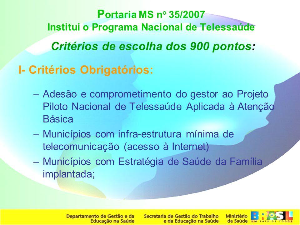 Secretaria de Gestão do Trabalho e da Educação na Saúde P ortaria MS n o 35/2007 Institui o Programa Nacional de Telessaúde Critérios de escolha dos 9