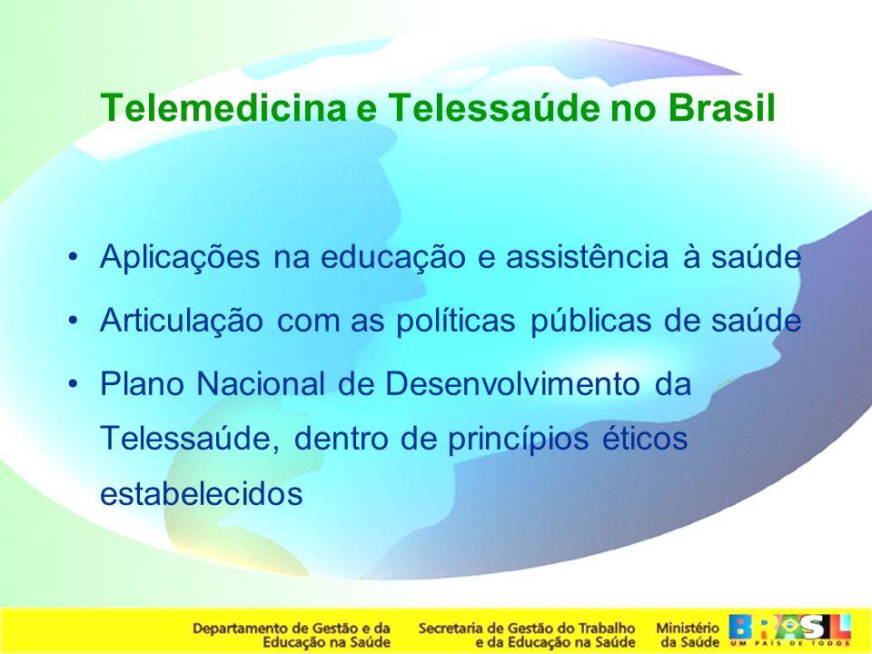 Secretaria de Gestão do Trabalho e da Educação na Saúde Telemedicina e Telessaúde no Brasil Aplicações na educação e assistência à saúde Articulação c