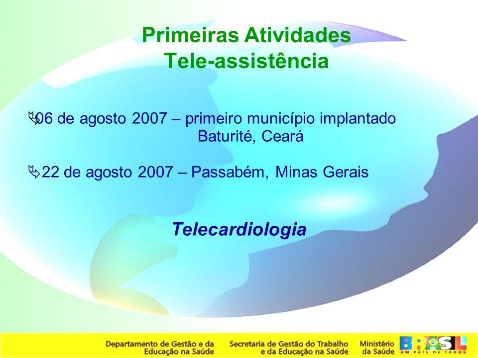 Secretaria de Gestão do Trabalho e da Educação na Saúde 06 de agosto 2007 – primeiro município implantado Baturité, Ceará 22 de agosto 2007 – Passabém