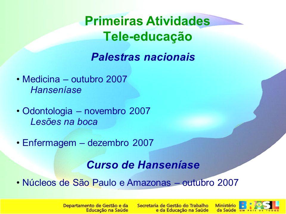Secretaria de Gestão do Trabalho e da Educação na Saúde Palestras nacionais Medicina – outubro 2007 Hanseníase Odontologia – novembro 2007 Lesões na b