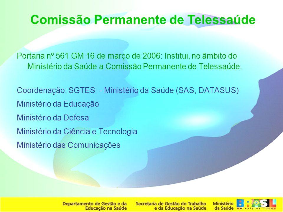 Secretaria de Gestão do Trabalho e da Educação na Saúde Portaria nº 561 GM 16 de março de 2006: Institui, no âmbito do Ministério da Saúde a Comissão