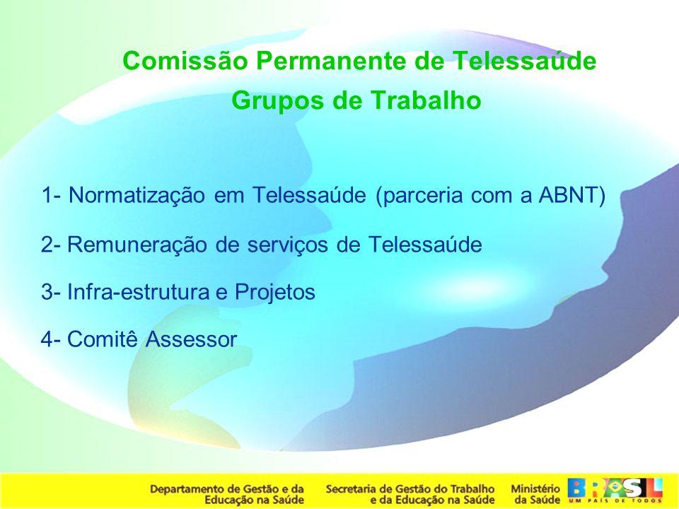 Secretaria de Gestão do Trabalho e da Educação na Saúde Comissão Permanente de Telessaúde Grupos de Trabalho 1- Normatização em Telessaúde (parceria c