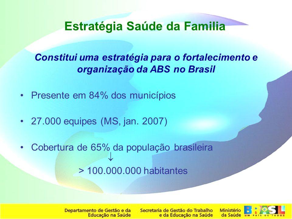 Secretaria de Gestão do Trabalho e da Educação na Saúde Estratégia Saúde da Familia Presente em 84% dos municípios 27.000 equipes (MS, jan. 2007) Cobe