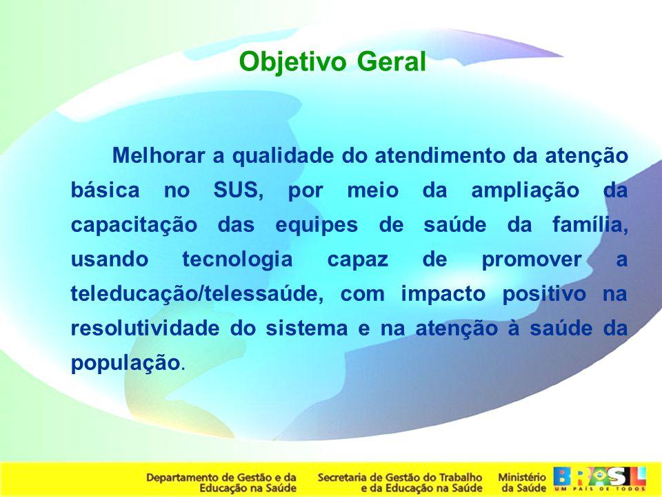 Secretaria de Gestão do Trabalho e da Educação na Saúde Objetivo Geral Melhorar a qualidade do atendimento da atenção básica no SUS, por meio da ampli