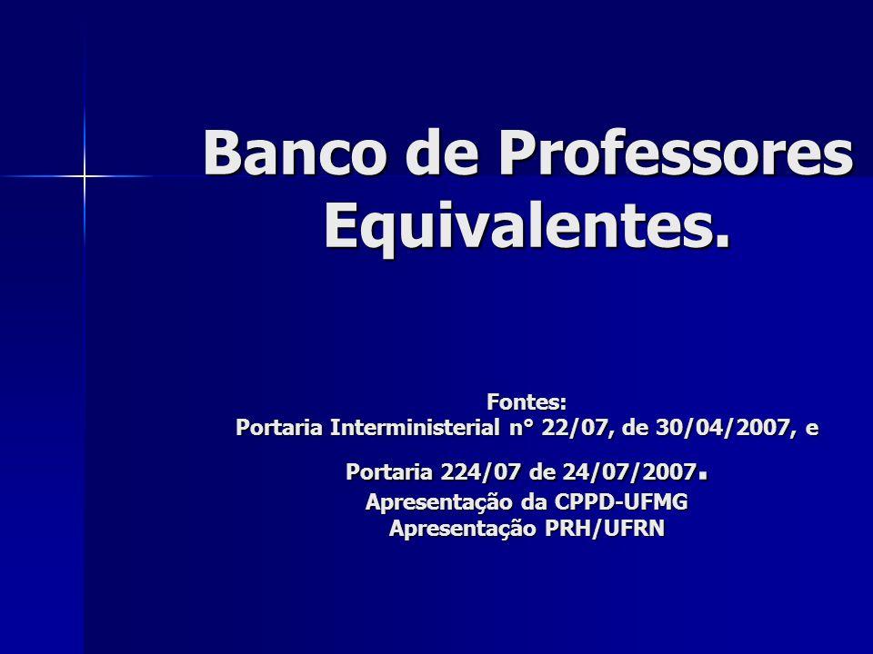 Banco de Professores Equivalentes.
