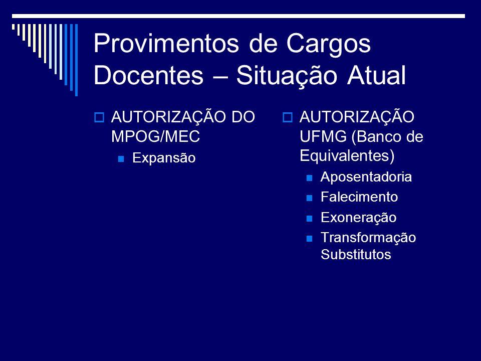 Provimentos de Cargos Docentes – Situação Atual AUTORIZAÇÃO DO MPOG/MEC Expansão AUTORIZAÇÃO UFMG (Banco de Equivalentes) Aposentadoria Falecimento Exoneração Transformação Substitutos