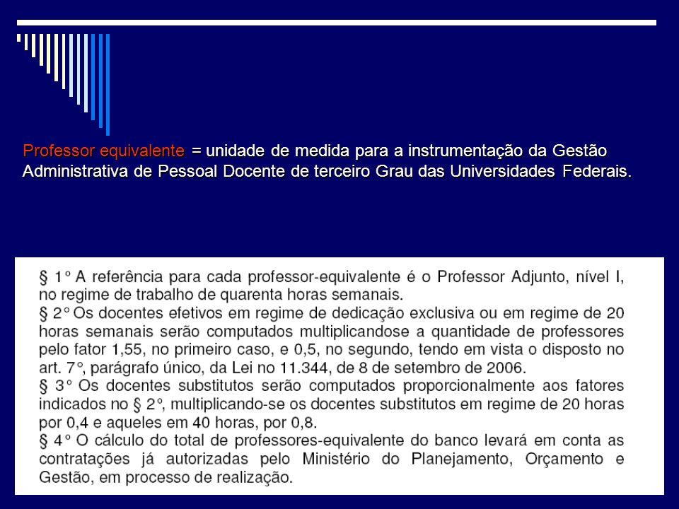 Professor equivalente = unidade de medida para a instrumentação da Gestão Administrativa de Pessoal Docente de terceiro Grau das Universidades Federais.