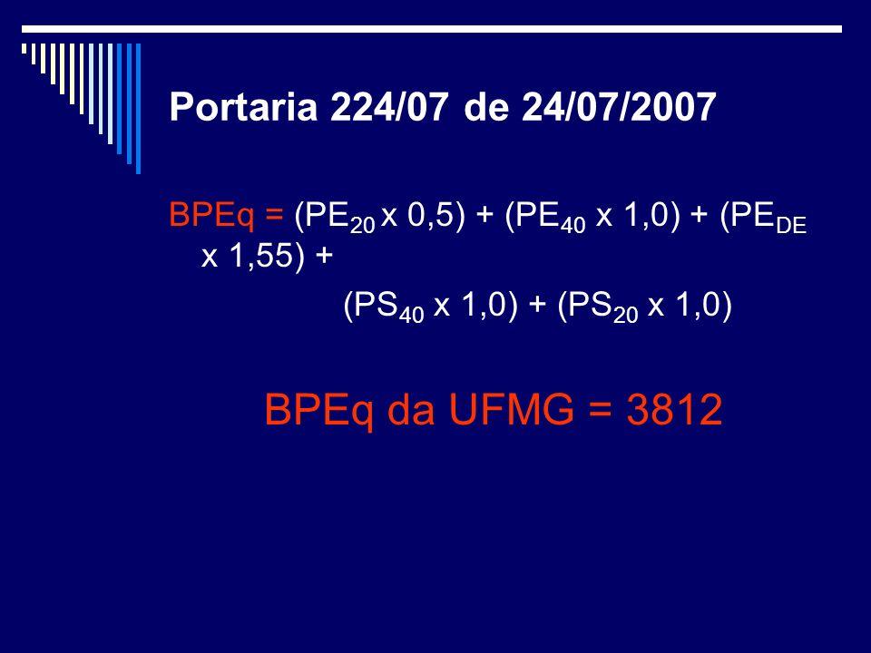 Portaria 224/07 de 24/07/2007 BPEq = (PE 20 x 0,5) + (PE 40 x 1,0) + (PE DE x 1,55) + (PS 40 x 1,0) + (PS 20 x 1,0) BPEq da UFMG = 3812