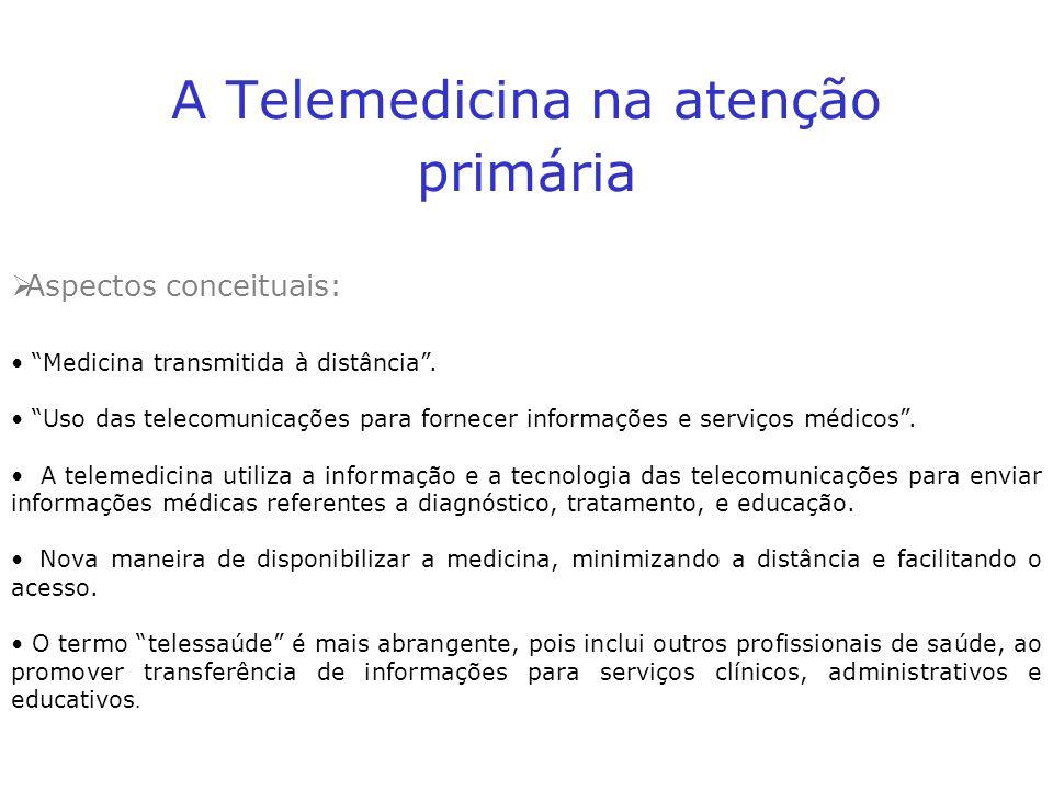 A Telemedicina na atenção primária Aspectos conceituais: Medicina transmitida à distância. Uso das telecomunicações para fornecer informações e serviç