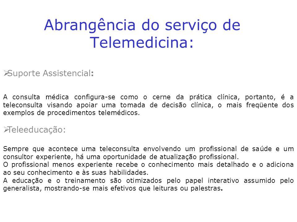 Abrangência do serviço de Telemedicina: Suporte Assistencial: A consulta médica configura-se como o cerne da prática clínica, portanto, é a teleconsulta visando apoiar uma tomada de decisão clínica, o mais freqüente dos exemplos de procedimentos telemédicos.