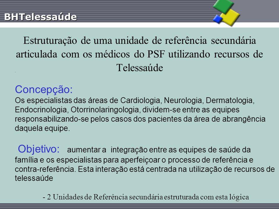 BHTelessaúde Estruturação de uma unidade de referência secundária articulada com os médicos do PSF utilizando recursos de Telessaúde. Concepção: Os es