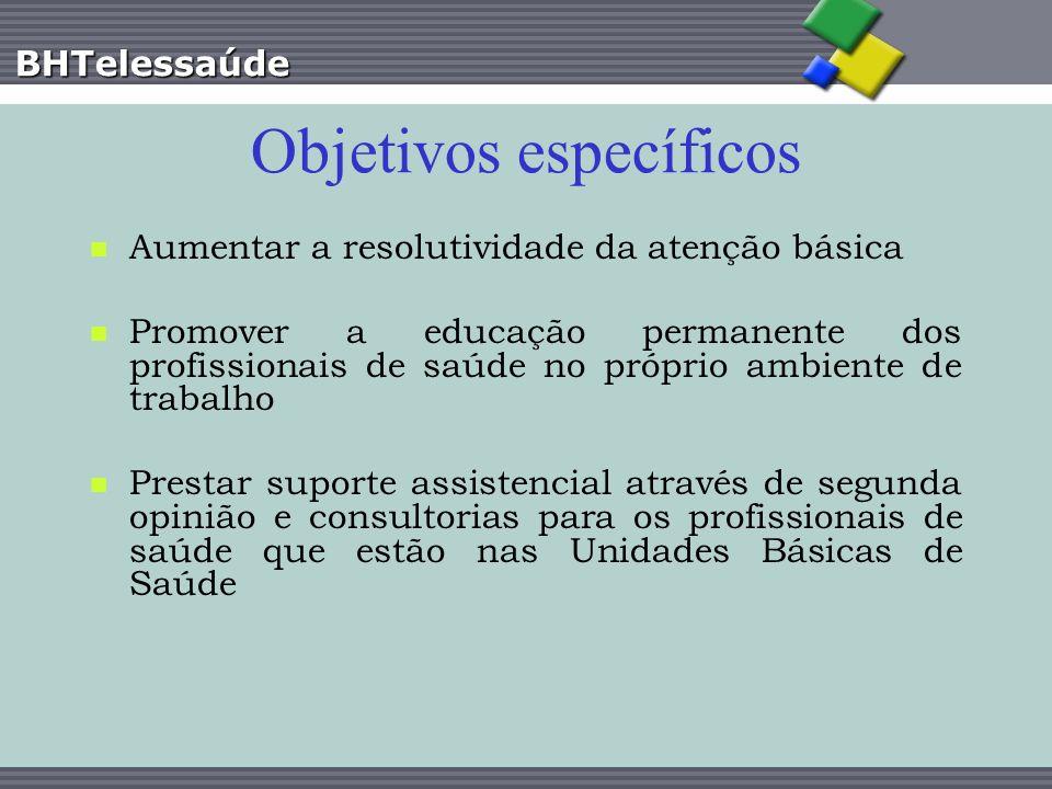 BHTelessaúde Objetivos específicos Aumentar a resolutividade da atenção básica Promover a educação permanente dos profissionais de saúde no próprio am