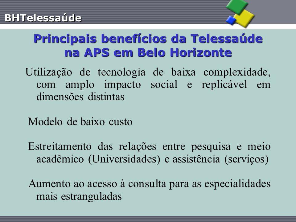 BHTelessaúde Principais benefícios da Telessaúde na APS em Belo Horizonte Utilização de tecnologia de baixa complexidade, com amplo impacto social e r