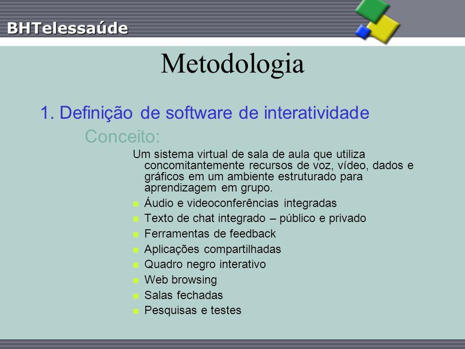 BHTelessaúde Metodologia 1. Definição de software de interatividade Conceito: Um sistema virtual de sala de aula que utiliza concomitantemente recurso