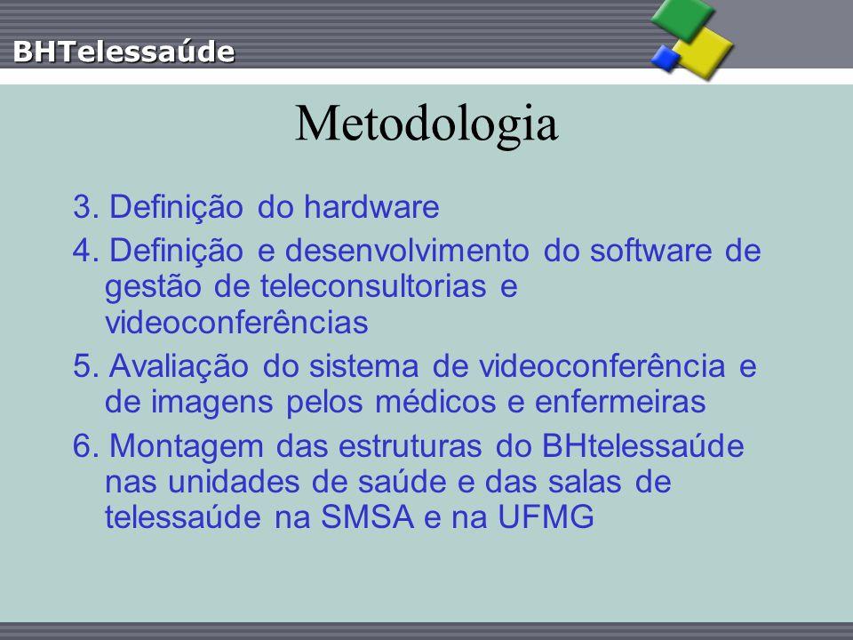BHTelessaúde Metodologia 3. Definição do hardware 4. Definição e desenvolvimento do software de gestão de teleconsultorias e videoconferências 5. Aval