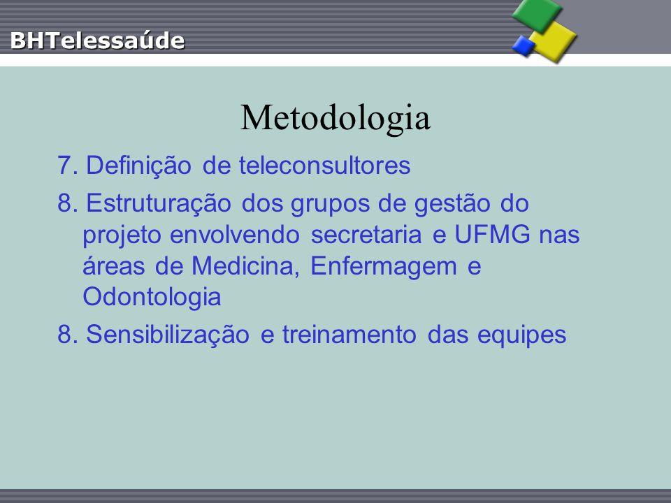 BHTelessaúde Metodologia 7. Definição de teleconsultores 8. Estruturação dos grupos de gestão do projeto envolvendo secretaria e UFMG nas áreas de Med