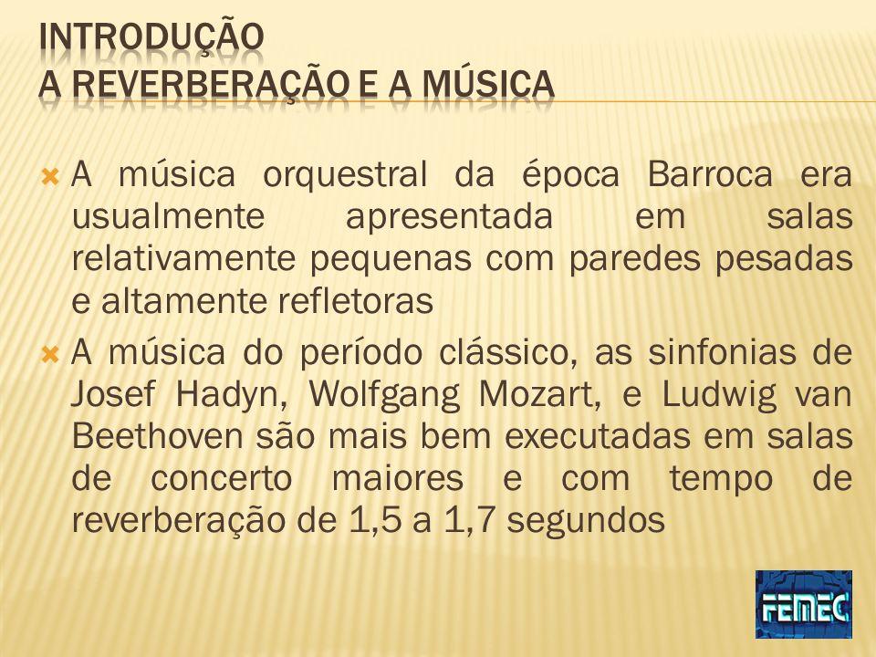 A música orquestral da época Barroca era usualmente apresentada em salas relativamente pequenas com paredes pesadas e altamente refletoras A música do