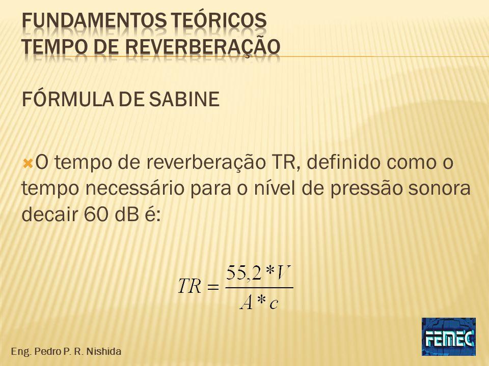 FÓRMULA DE SABINE O tempo de reverberação TR, definido como o tempo necessário para o nível de pressão sonora decair 60 dB é: Eng. Pedro P. R. Nishida