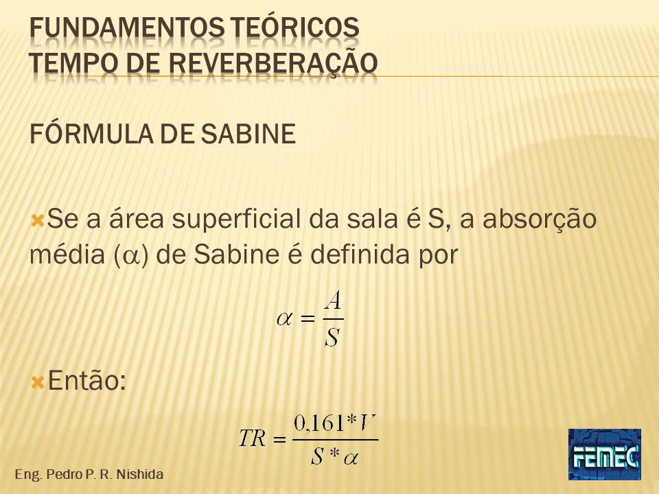 FÓRMULA DE SABINE Se a área superficial da sala é S, a absorção média ( ) de Sabine é definida por Então: Eng. Pedro P. R. Nishida
