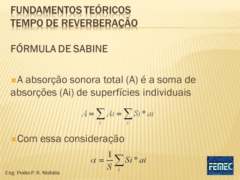 FÓRMULA DE SABINE A absorção sonora total (A) é a soma de absorções (Ai) de superfícies individuais Com essa consideração Eng. Pedro P. R. Nishida