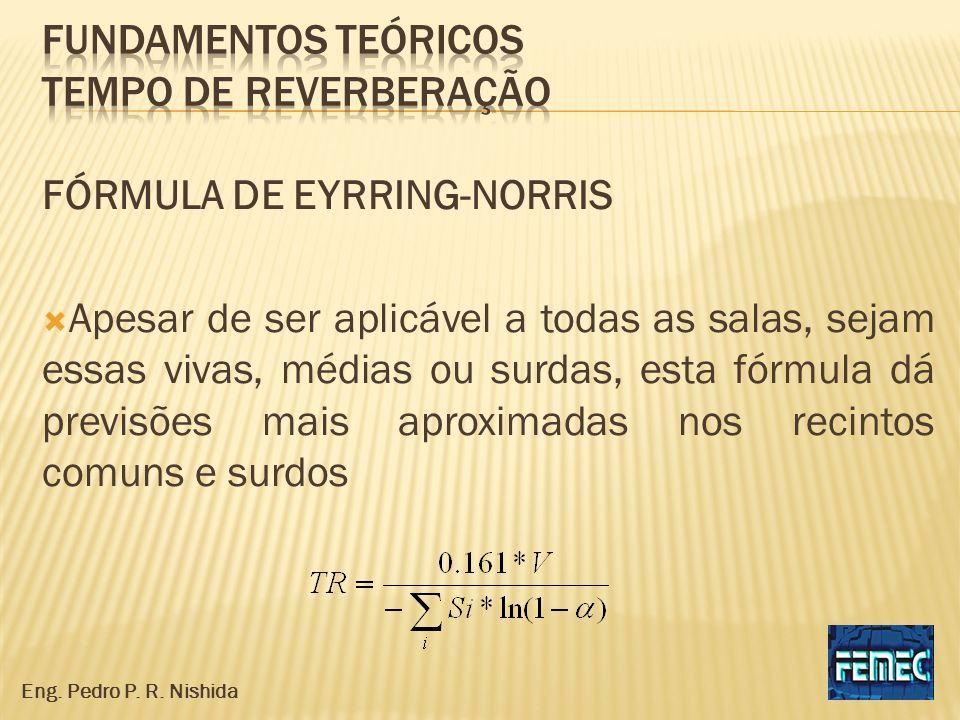 FÓRMULA DE EYRRING-NORRIS Apesar de ser aplicável a todas as salas, sejam essas vivas, médias ou surdas, esta fórmula dá previsões mais aproximadas no
