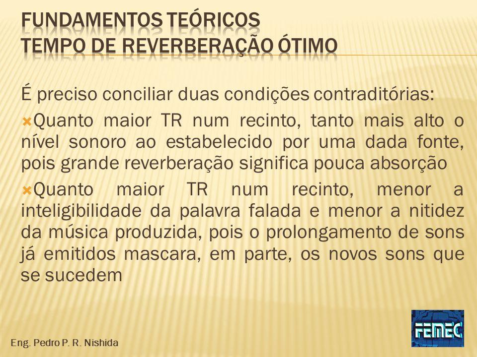 É preciso conciliar duas condições contraditórias: Quanto maior TR num recinto, tanto mais alto o nível sonoro ao estabelecido por uma dada fonte, poi