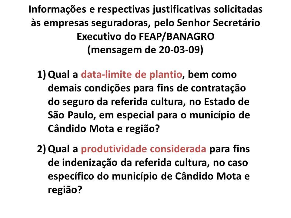 Informações e respectivas justificativas solicitadas às empresas seguradoras, pelo Senhor Secretário Executivo do FEAP/BANAGRO (mensagem de 20-03-09)
