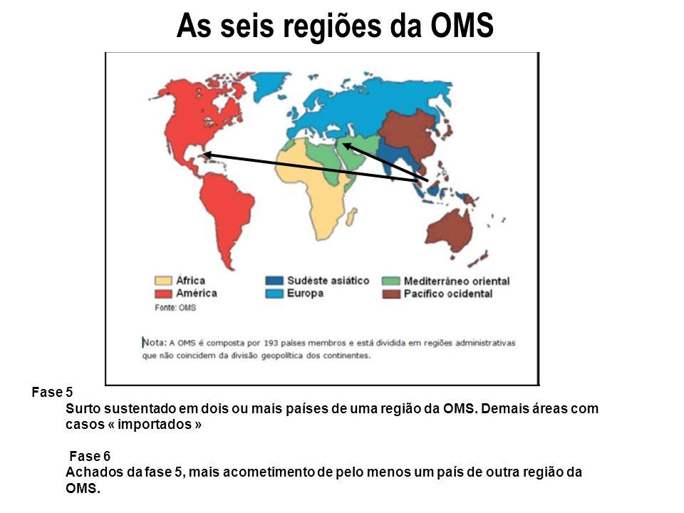 Fase 5 Surto sustentado em dois ou mais países de uma região da OMS. Demais áreas com casos « importados » Fase 6 Achados da fase 5, mais acometimento