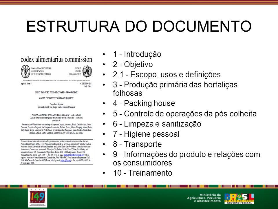 ESTRUTURA DO DOCUMENTO 1 - Introdução 2 - Objetivo 2.1 - Escopo, usos e definições 3 - Produção primária das hortaliças folhosas 4 - Packing house 5 -