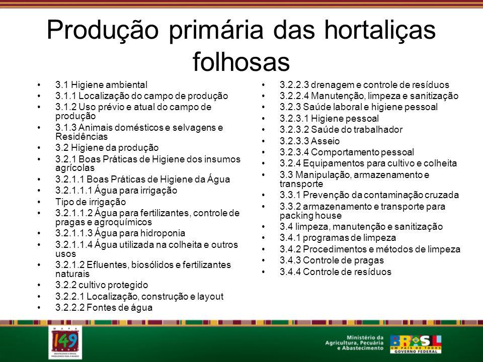 Produção primária das hortaliças folhosas 3.1 Higiene ambiental 3.1.1 Localização do campo de produção 3.1.2 Uso prévio e atual do campo de produção 3