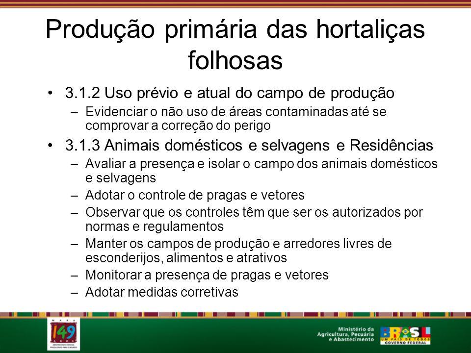 Produção primária das hortaliças folhosas 3.1.2 Uso prévio e atual do campo de produção –Evidenciar o não uso de áreas contaminadas até se comprovar a