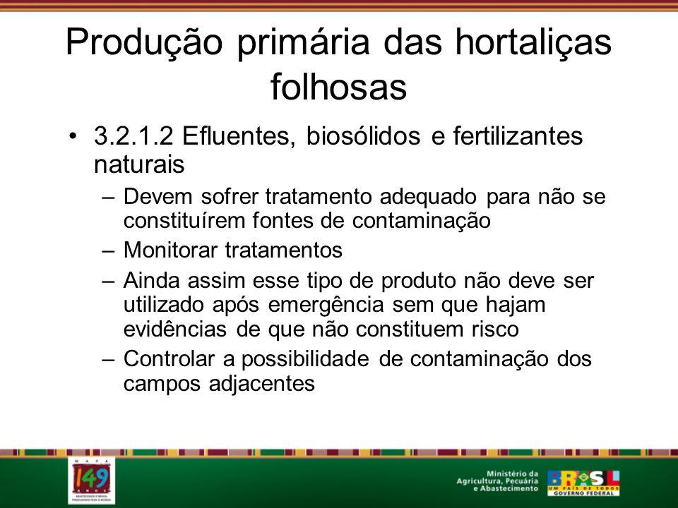 Produção primária das hortaliças folhosas 3.2.1.2 Efluentes, biosólidos e fertilizantes naturais –Devem sofrer tratamento adequado para não se constit