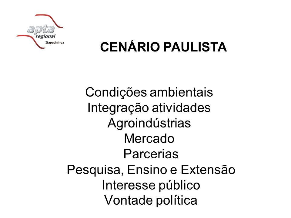 CENÁRIO PAULISTA Condições ambientais Integração atividades Agroindústrias Mercado Parcerias Pesquisa, Ensino e Extensão Interesse público Vontade pol