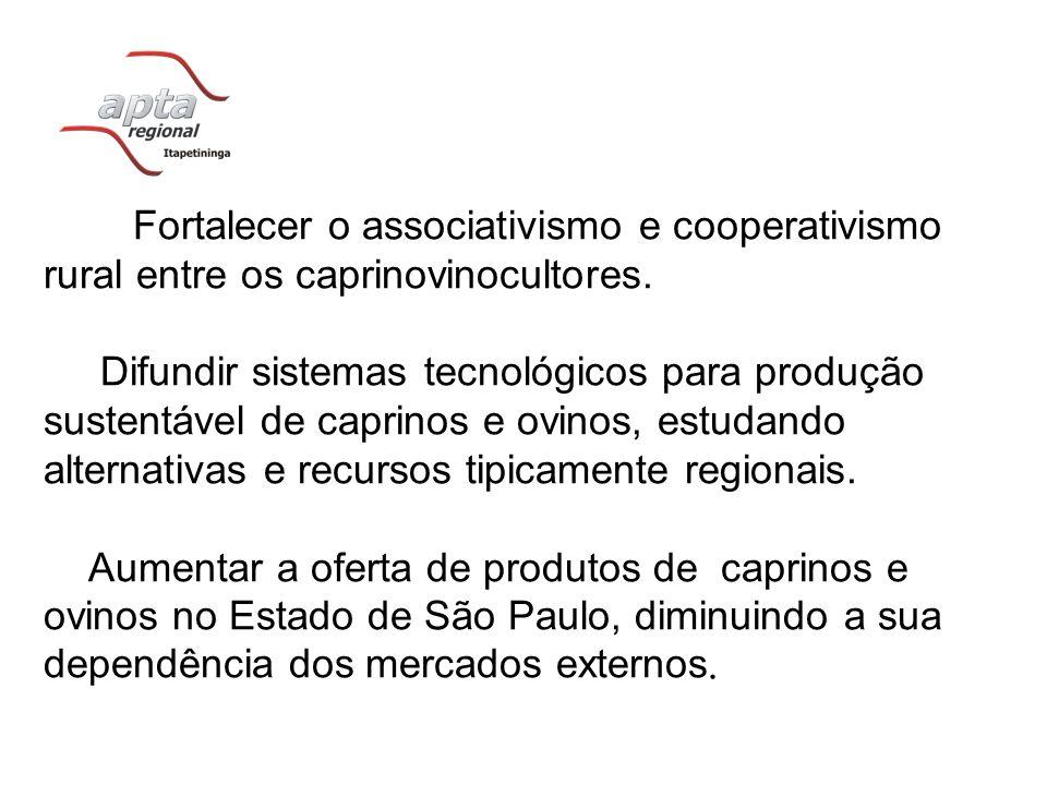 Fortalecer o associativismo e cooperativismo rural entre os caprinovinocultores. Difundir sistemas tecnológicos para produção sustentável de caprinos