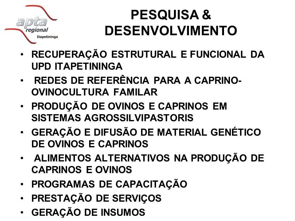 PESQUISA & DESENVOLVIMENTO RECUPERAÇÃO ESTRUTURAL E FUNCIONAL DA UPD ITAPETININGA REDES DE REFERÊNCIA PARA A CAPRINO- OVINOCULTURA FAMILAR PRODUÇÃO DE OVINOS E CAPRINOS EM SISTEMAS AGROSSILVIPASTORIS GERAÇÃO E DIFUSÃO DE MATERIAL GENÉTICO DE OVINOS E CAPRINOS ALIMENTOS ALTERNATIVOS NA PRODUÇÃO DE CAPRINOS E OVINOS PROGRAMAS DE CAPACITAÇÃO PRESTAÇÃO DE SERVIÇOS GERAÇÃO DE INSUMOS