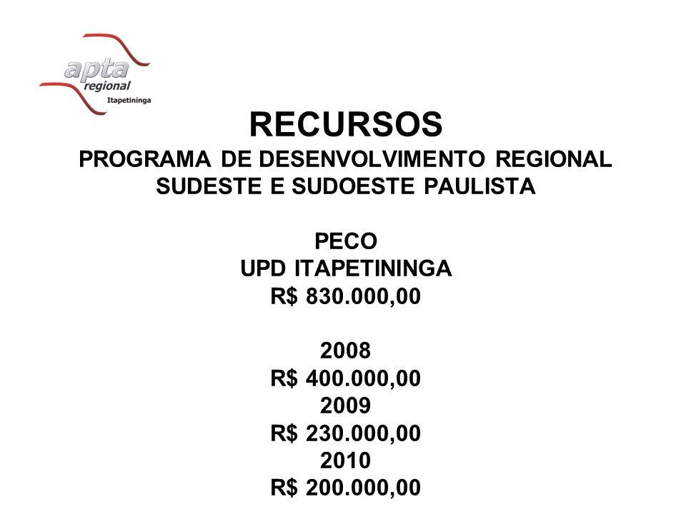 RECURSOS PROGRAMA DE DESENVOLVIMENTO REGIONAL SUDESTE E SUDOESTE PAULISTA PECO UPD ITAPETININGA R$ 830.000,00 2008 R$ 400.000,00 2009 R$ 230.000,00 20