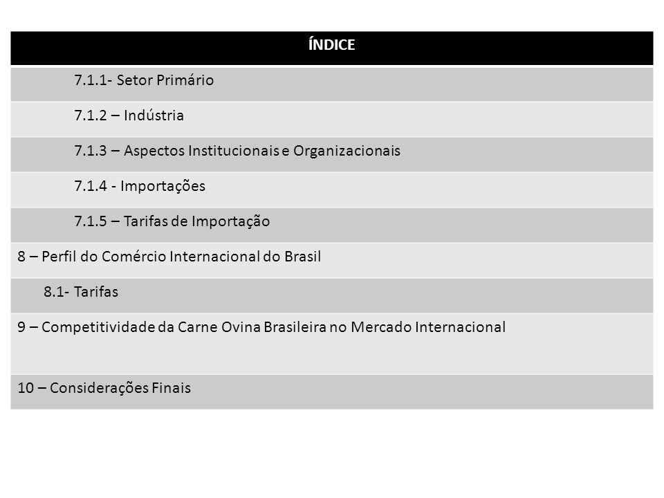 ÍNDICE 7.1.1- Setor Primário 7.1.2 – Indústria 7.1.3 – Aspectos Institucionais e Organizacionais 7.1.4 - Importações 7.1.5 – Tarifas de Importação 8 –