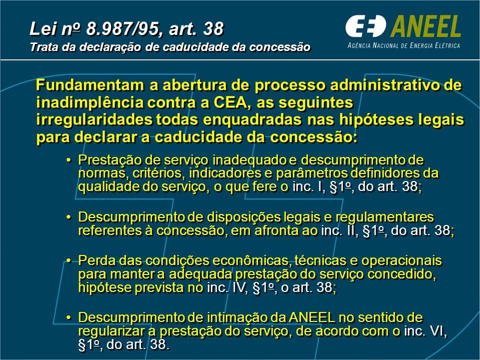 Lei n o 8.987/95, art. 38 Trata da declaração de caducidade da concessão Lei n o 8.987/95, art.