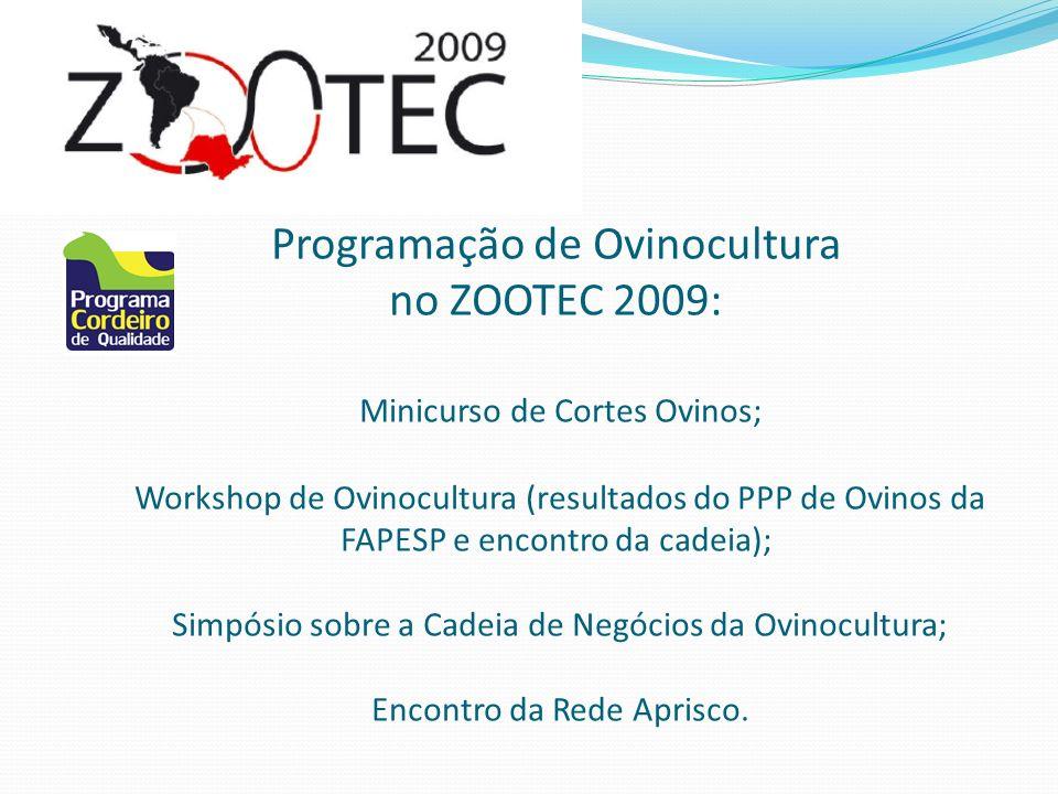 Programação de Ovinocultura no ZOOTEC 2009: Minicurso de Cortes Ovinos; Workshop de Ovinocultura (resultados do PPP de Ovinos da FAPESP e encontro da