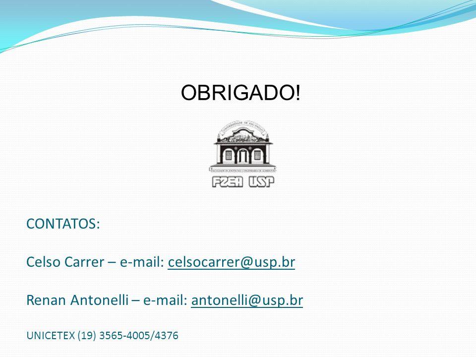 CONTATOS: Celso Carrer – e-mail: celsocarrer@usp.br Renan Antonelli – e-mail: antonelli@usp.br UNICETEX (19) 3565-4005/4376 OBRIGADO!