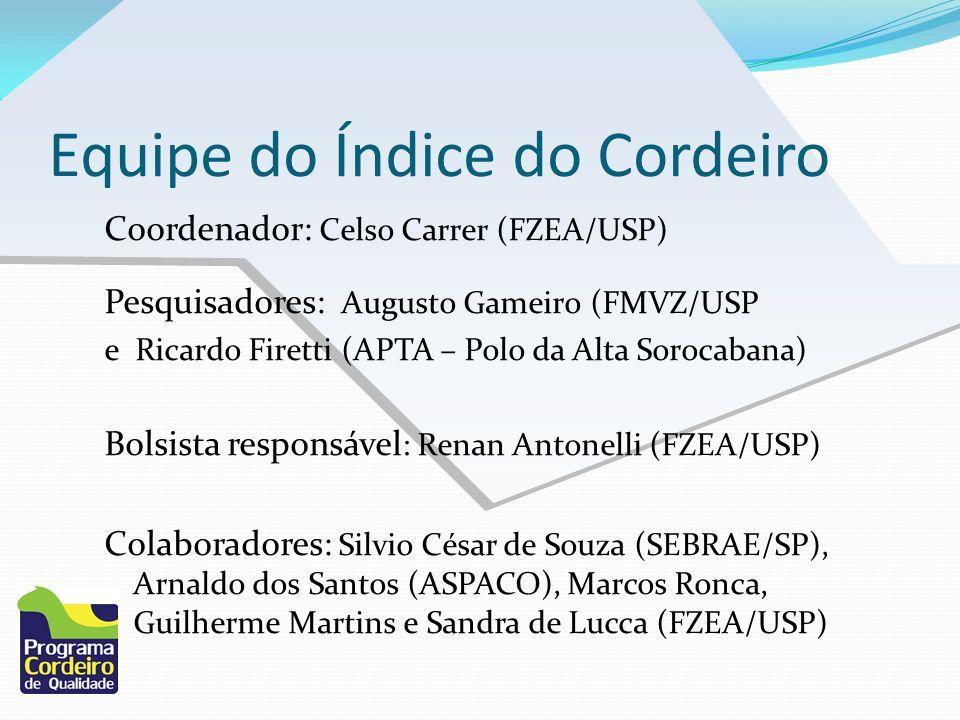 Equipe do Índice do Cordeiro Coordenador: Celso Carrer (FZEA/USP) Pesquisadores: Augusto Gameiro (FMVZ/USP e Ricardo Firetti (APTA – Polo da Alta Soro