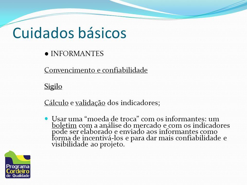Cuidados básicos INFORMANTES Convencimento e confiabilidadeSigilo Cálculo e validação dos indicadores; Usar uma moeda de troca com os informantes: um