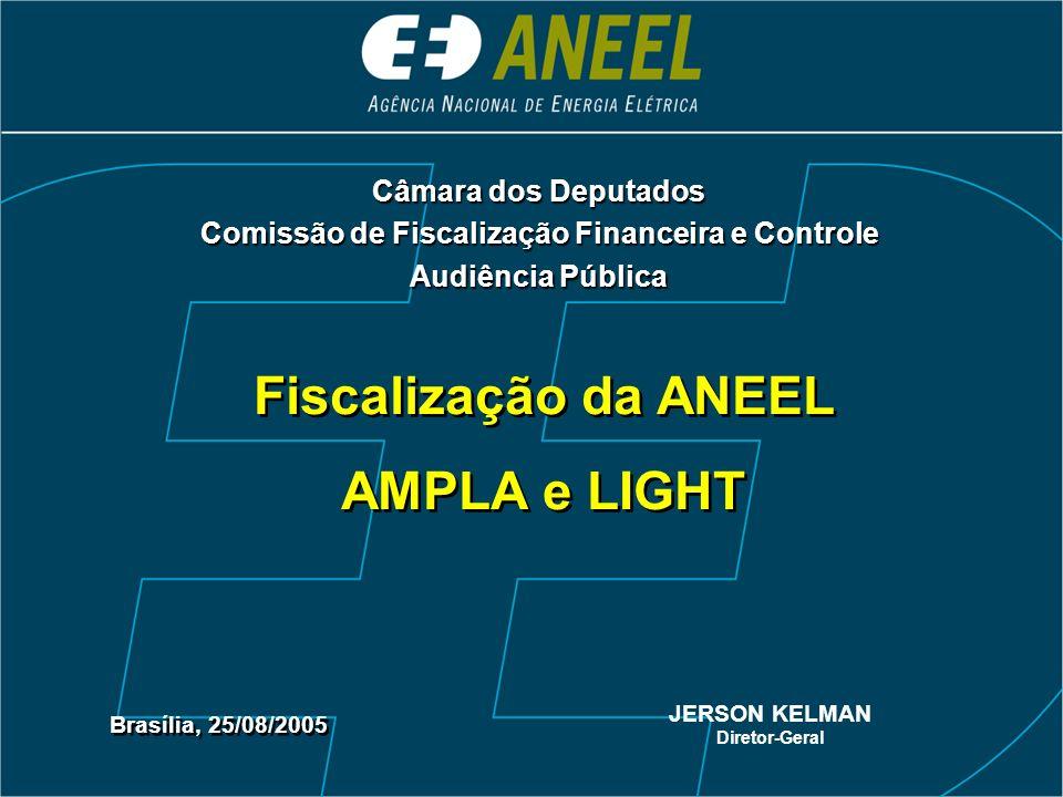 Fiscalização da ANEEL AMPLA e LIGHT Fiscalização da ANEEL AMPLA e LIGHT Brasília, 25/08/2005 JERSON KELMAN Diretor-Geral Câmara dos Deputados Comissão