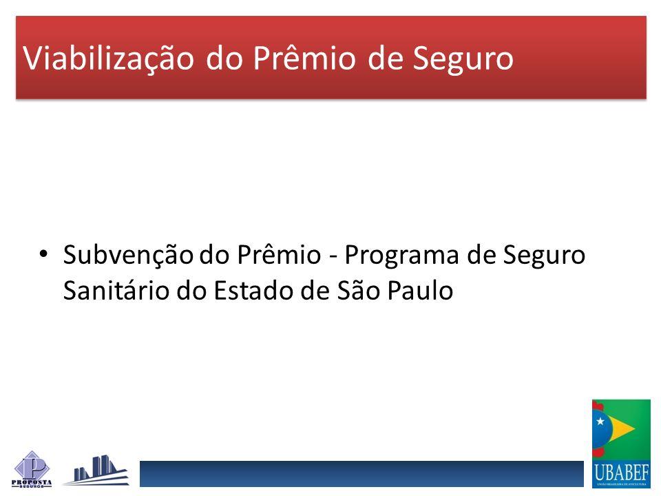 Subvenção do Prêmio - Programa de Seguro Sanitário do Estado de São Paulo Viabilização do Prêmio de Seguro