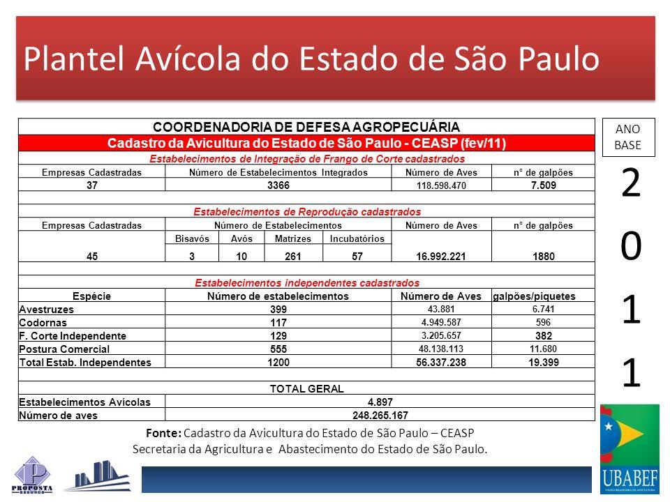 Plantel Avícola do Estado de São Paulo ANO BASE COORDENADORIA DE DEFESA AGROPECUÁRIA Cadastro da Avicultura do Estado de São Paulo - CEASP (fev/11) Es