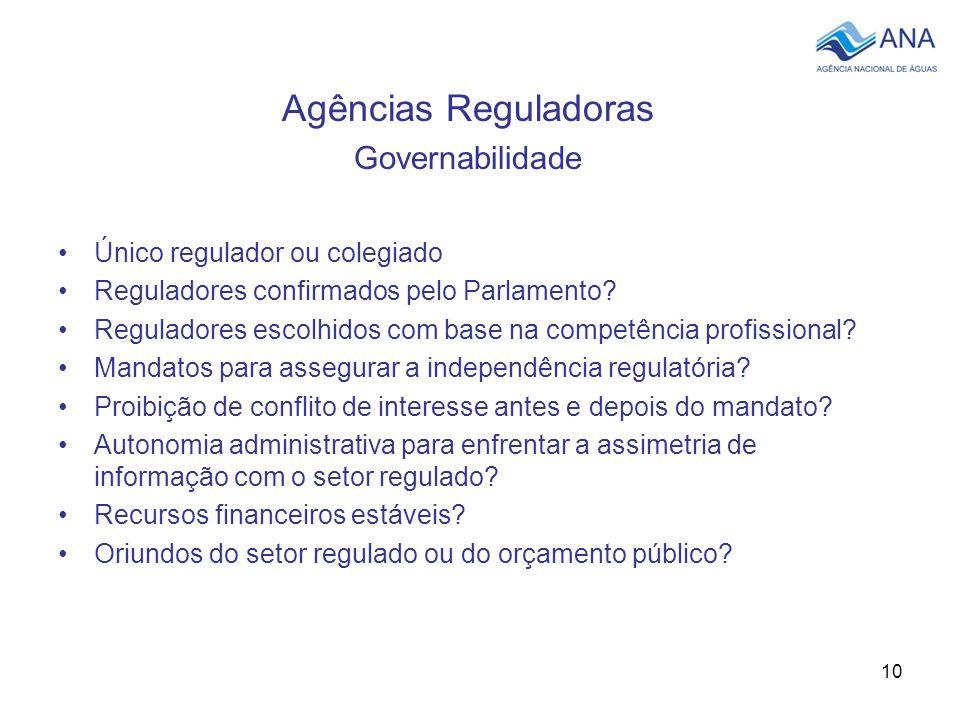 10 Agências Reguladoras Governabilidade Único regulador ou colegiado Reguladores confirmados pelo Parlamento? Reguladores escolhidos com base na compe
