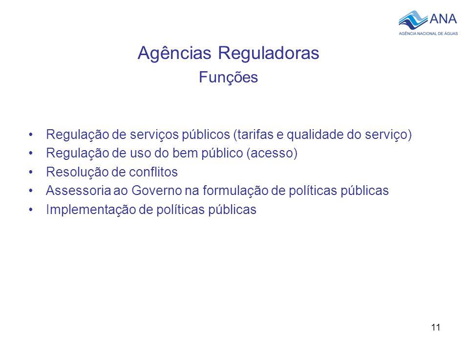 11 Agências Reguladoras Funções Regulação de serviços públicos (tarifas e qualidade do serviço) Regulação de uso do bem público (acesso) Resolução de conflitos Assessoria ao Governo na formulação de políticas públicas Implementação de políticas públicas